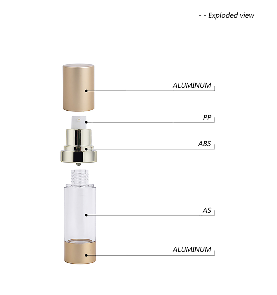 15ml 30ml 50ml Cylinder Gold Airless Cosmetic Bottles
