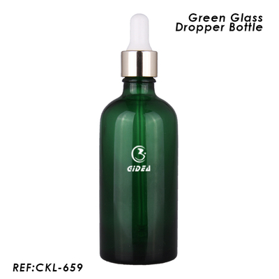 Dark Green Glass Bottle with Dropper
