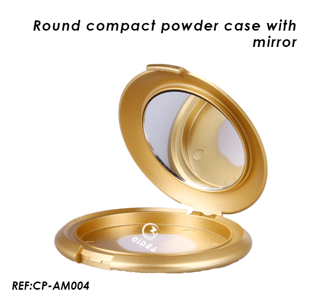 Luxury Gold Empty Compact Case with Mirror Make Up Case