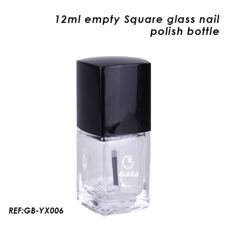 12ml Empty Square Glass Nail Polish Bottles with Black Cap And High Quality Dopont Brush